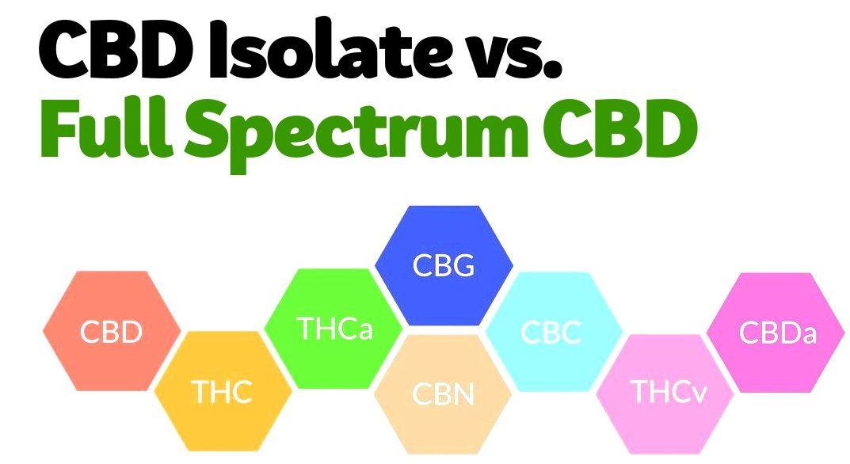 text cbd isolate vs full spectrum cbd with hexagons